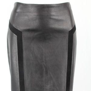 J McLaughlin Black Leather Suede Trim Skirt Size 8